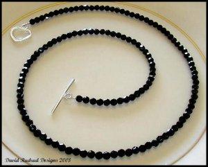 SWAROVSKI Round 16 Inch JET BLACK Crystal Necklace Sterling Silver
