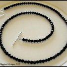 SWAROVSKI Round 20 Inch JET BLACK Crystal Necklace Sterling Silver