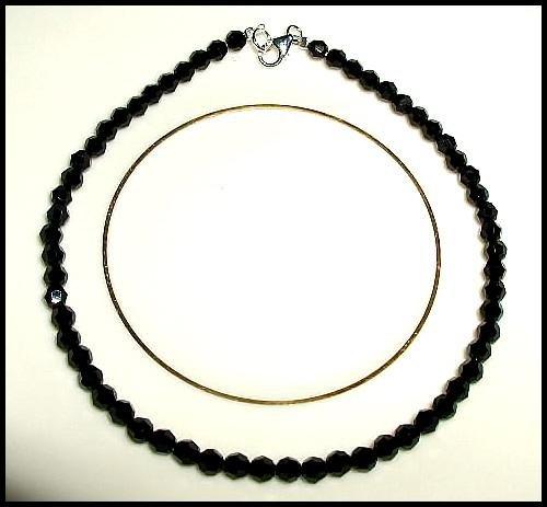 Jet Black SWAROVSKI Crystal Anklet Ankle Bracelet Sterling Silver