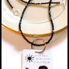 SWAROVSKI Round 30 Inch JET BLACK Crystal LANYARD Necklace Sterling Silver