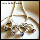 MOTHERS GIFT - 4 Baby Ring Birthstone Necklace Sterling Silver Jewelry