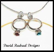 MOTHERS GIFT - 2 Baby Ring Birthstone Necklace Sterling Silver Jewelry