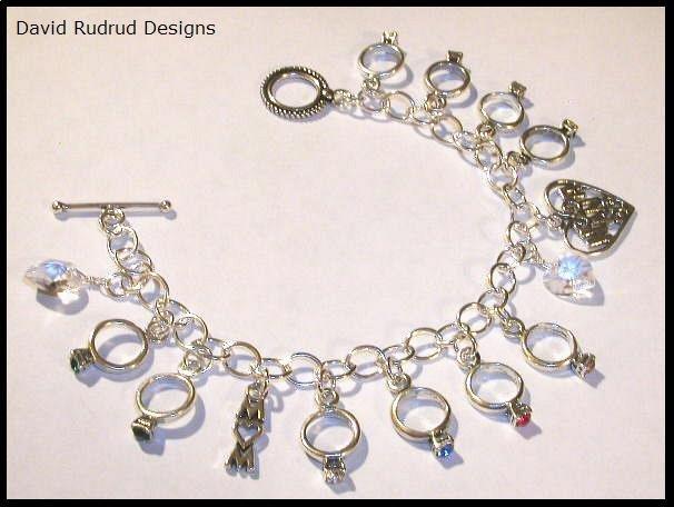 Mothers Grandmothers Birthstone Ring Custom Charm Bracelet