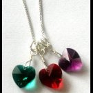 """BIRTHSTONE 3 Heart Mom Mothers 18"""" Necklace Sterling Silver"""