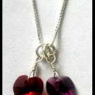 """BIRTHSTONE 2 Heart Mom Mothers 18"""" Necklace Sterling Silver"""