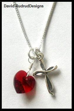 Beautiful BIRTHSTONE Heart and Cross Necklace Sterling Silver Swarovski