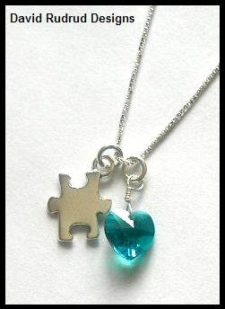 BIRTHSTONE with AUTISM Awareness Necklace Sterling Silver Swarovski