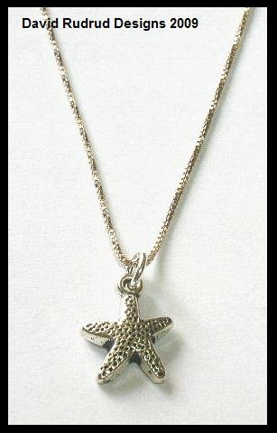 """STARFISH Necklace Solid Italian Sterling Silver 16"""""""