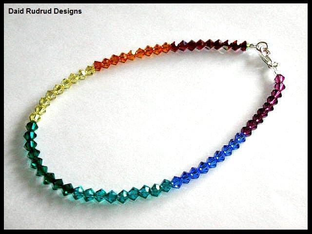 CHAKRA Anklet - Ankle Bracelet with Swarovski Crystal Sterling Silver