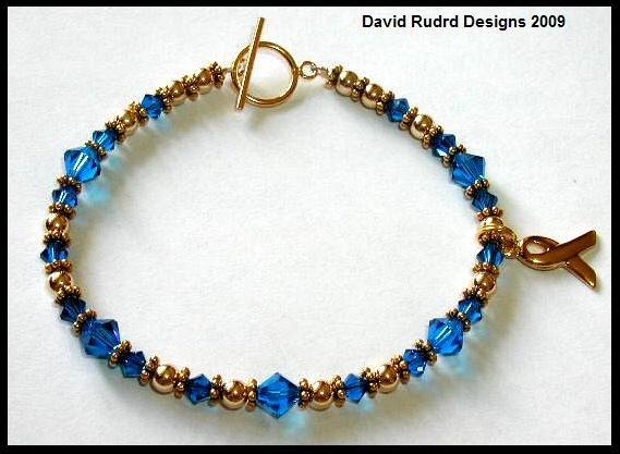 GOLD Swarovki Crystal Cancer Awareness Bracelet