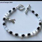 Carcinoid Cancer Awareness Bracelet Sterling Silver Onyx and Swarovski
