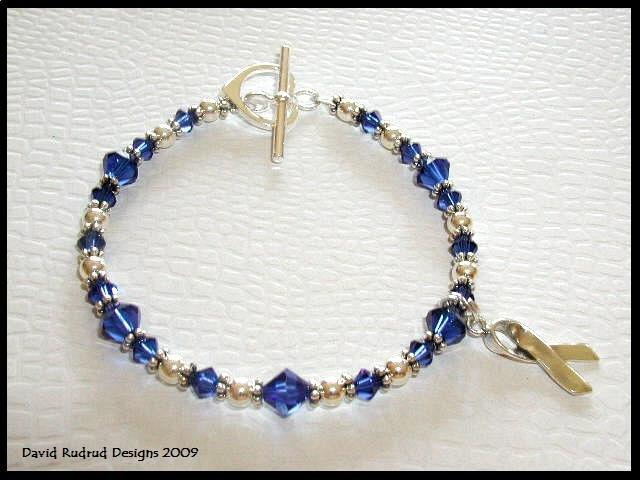 MESOTHELIOMA CANCER Awareness Bracelet Swarovski Crystal & Sterling MESO
