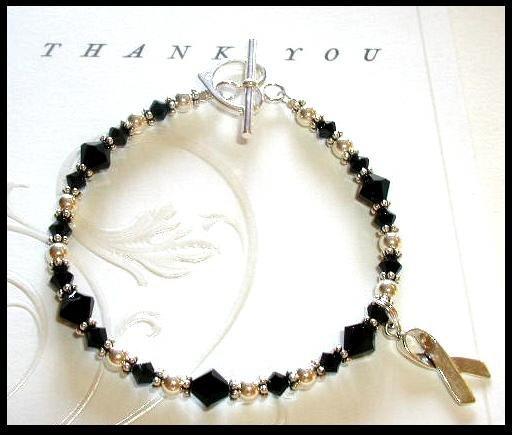 MELANOMA SKIN CANCER Awareness Bracelet Swarovski Crystal & Sterling Silver