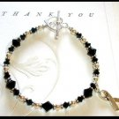 MELANOMA SKIN CANCER Awareness Bracelet Swarovski Crystal & Sterling Silver