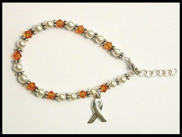 Kids size - Childhood Cancer Awareness Bracelet Swarovski Crystal and Pearl