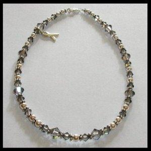 BRAIN Cancer Awareness Ankle Bracelet Anklet with Swarovski Crystal