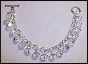 Swarovski Crystal Clear AB Sterling Silver Charm Bracelet 7 1/2 inches