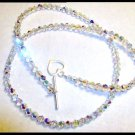 SWAROVSKI Clear AB Crystal Necklace Sterling Silver 23 Inch 5mm