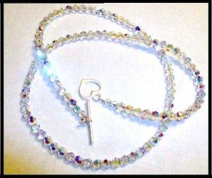SWAROVSKI Clear AB Crystal Necklace Sterling Silver 23 Inch 5mm
