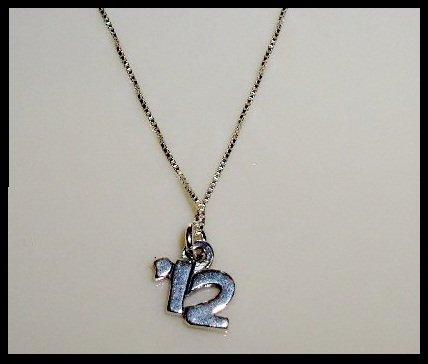 "2012 Senior Graduation School Necklace - 18"" Solid Sterling Silver"