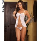 (6) Stretch mesh babydoll w/beaded applique and open crotch thong