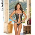 (8) Polka dot stretch mesh open cup babydoll w/eyelet lace, satin bo