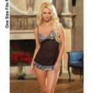 (10) Lycra net babydoll w/zebra print satin trim and thong black o/