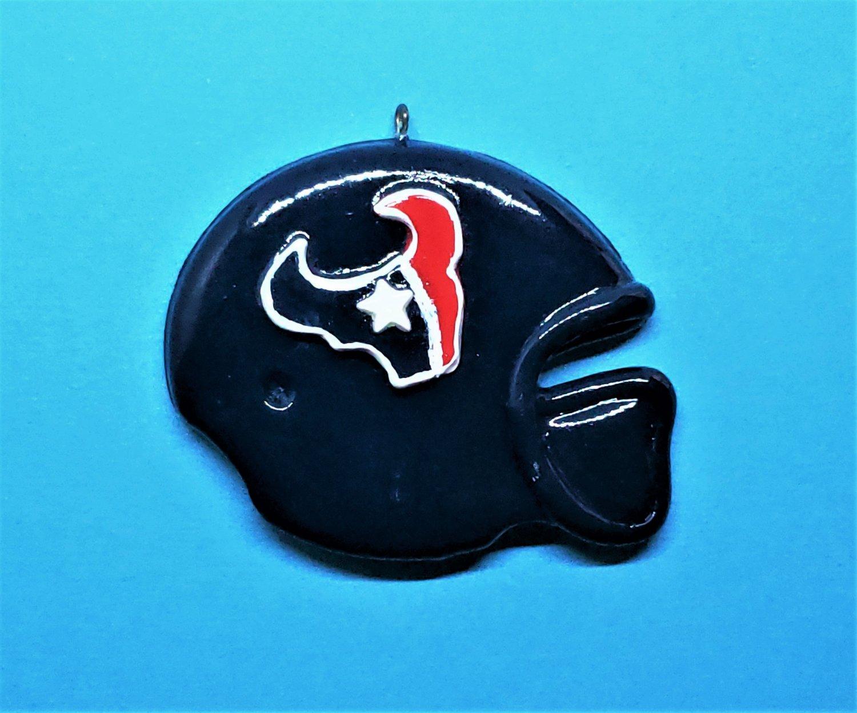CLEARANCE Large American Football Team Texans Helmet Pendant - Cold Porcelain Clay