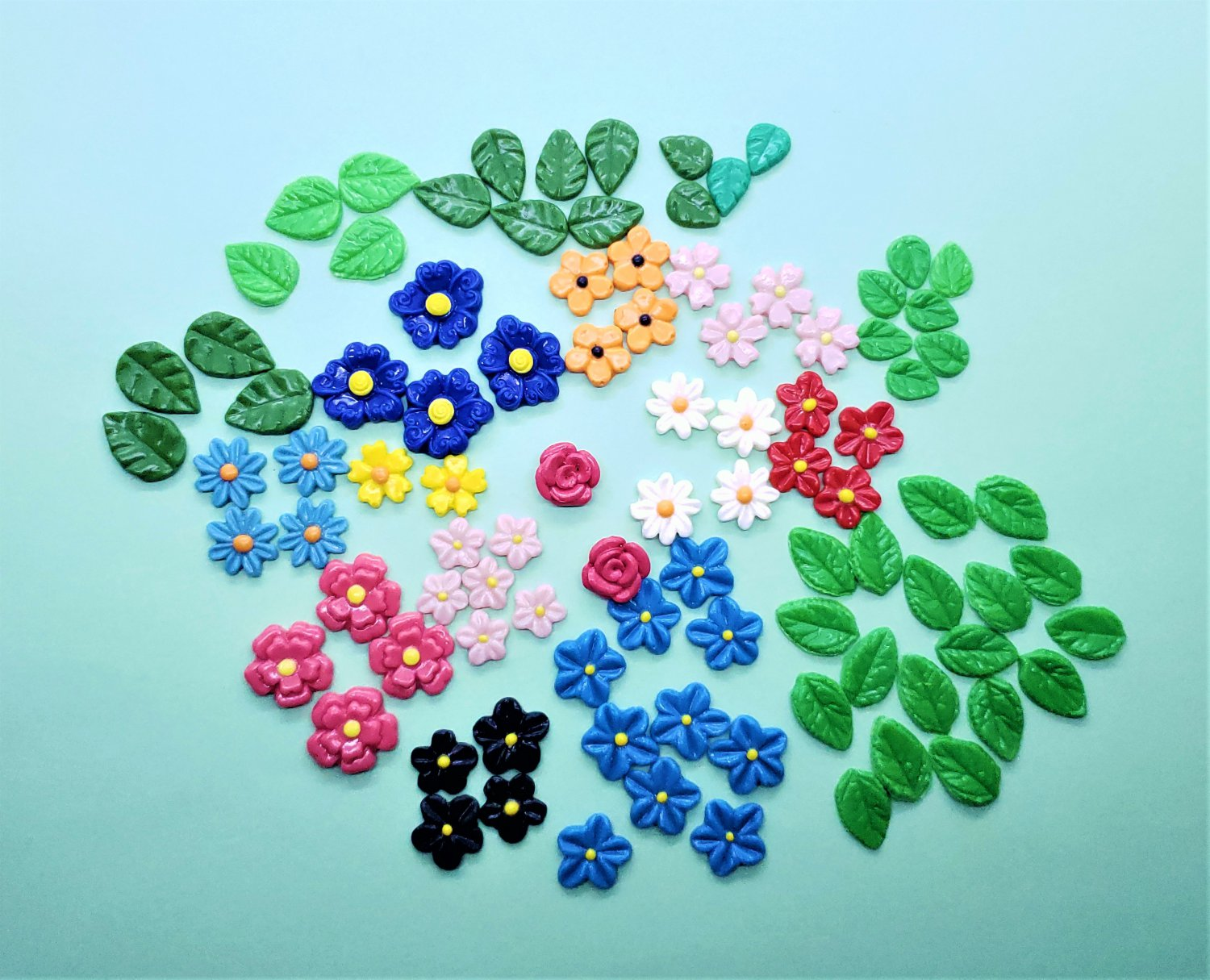 CLEARANCE Flowers and Leaves Set with 78 pieces - Cold Porcelain Clay