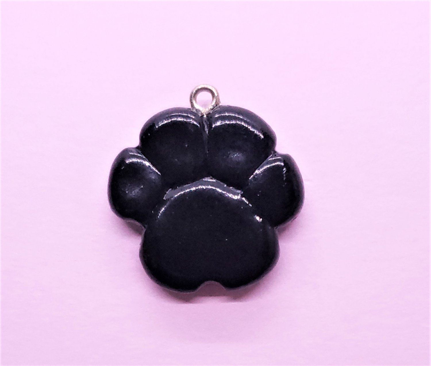 CLEARANCE Black Paw Print Pendant - Cold Porcelain Clay Charm