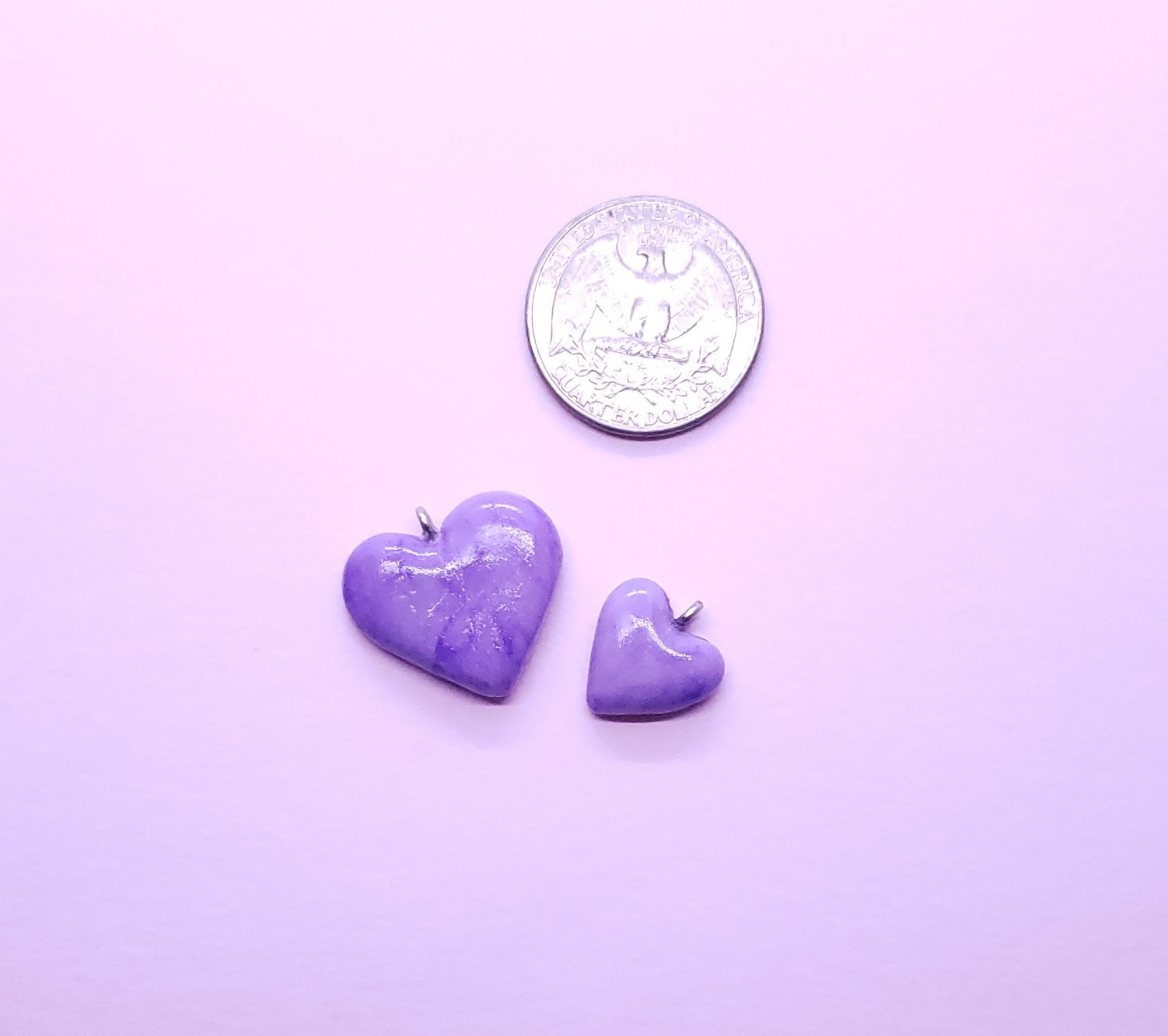 CLEARANCE Set of 2 Marbled Purple Heart Pendant - Cold Porcelain Clay Charms - Valentines