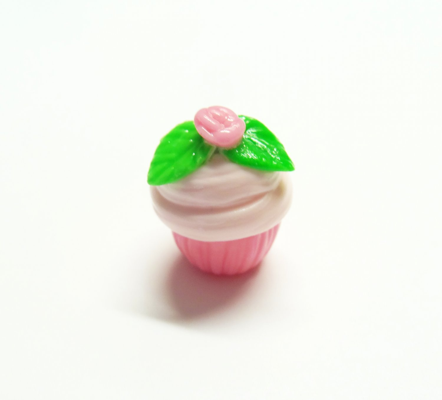 CLEARANCE Pink Rose Cupcake Pendant - Cold Porcelain Clay Charm