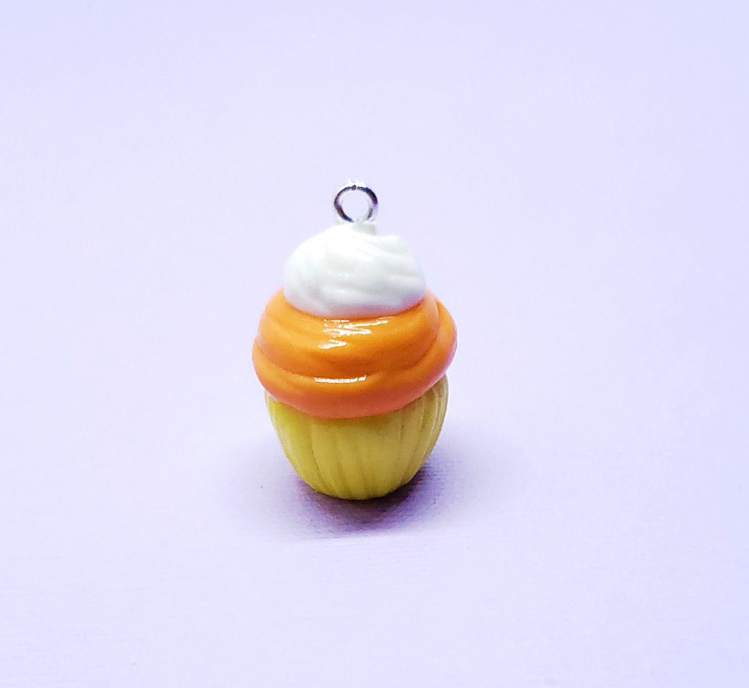 CLEARANCE Candy Corn Cupcake Pendant - Cold Porcelain Clay Charm - Halloween