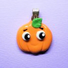 CLEARANCE Kawaii Pumpkin Pendant - Cold Porcelain Clay Charm - Fall & Halloween