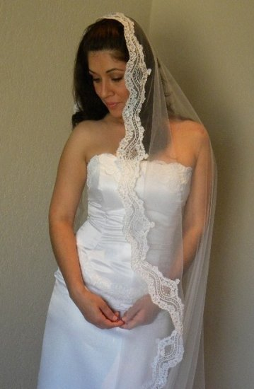 Mantilla Waltz Length Veil in Ivory or White