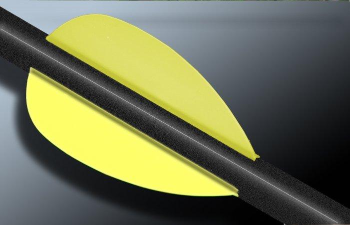 Flo Yellow Flash Vanes - hunting flex fletch archery vanes arrows fletching