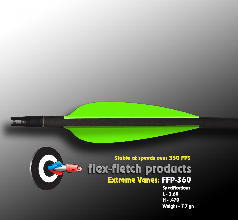 Extreme Vanes-Neon Green FFP 360X Flex-Fletch archery, vanes, hunting, arrows, target, fletching