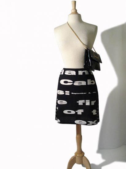 MARIMEKKO Vintage 90's Graphic Black White Mini Skirt M