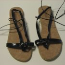 Women's Black Wrap Up Sandals Size 9-10 (Large)