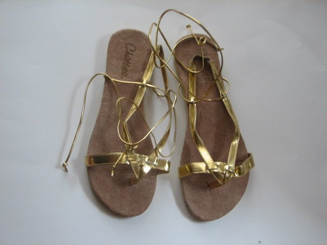 Women's Gold Wrap Up Sandals Size 9-10 (Large)