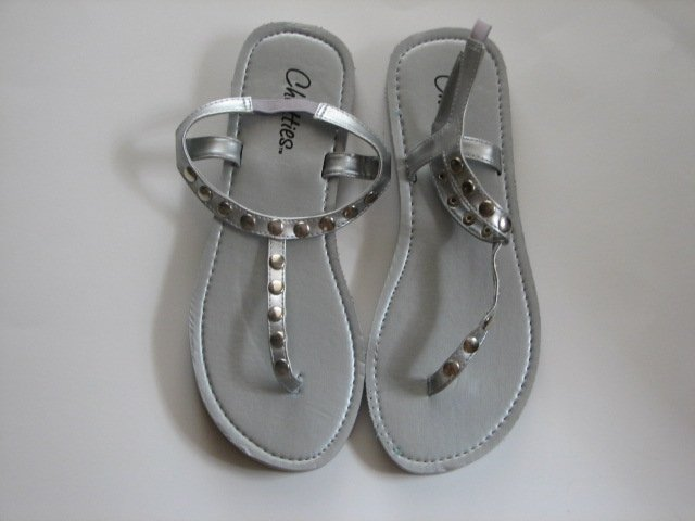 Women's Silver T-Strap Sandals w/ Studs Size 9-10 (Large)