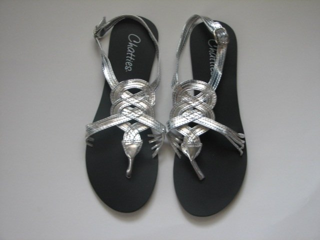 Women's Silver Gladiator Sandals Size 9/10 (Large)
