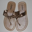 Women's Champagne T-Strap Sandals Large (9-10)