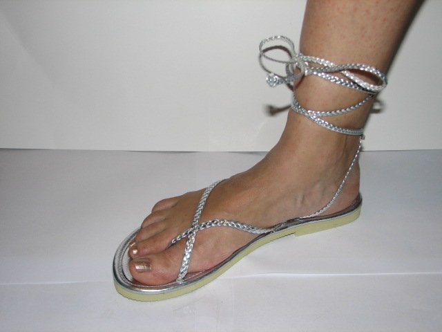 Unique Silver Women's Brand New Braided Ankle Wrap Up Sandals Size 9-10 (Large)