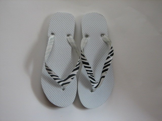 Women's Flip Flops with GLOSSY PRINTED STRAPS White Zebra Size 9-10 (Large)