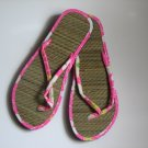 Women's Flip Flops Printed Pink Bamboo Size 9