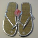 Women's Silver Bamboo Flip Flops Size 7