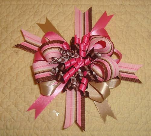 NEW LG GIRLS BOUTIQUE PINK, BROWN TAN KORKER HAIR BOW