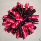 2 HOT PINK & BLACK KORKER GIRLS HAIR BOWS ACCESSORIES
