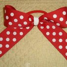 "NEW 5"" GIRLS BOUTIQUE RED CHEERLEADER PONY O HAIR BOW"